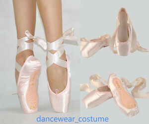 Femme-Fille-Satin-Ballerines-Danse-Pointe-Chaussures-Ballet-Pointe-Shoes-Ribbon