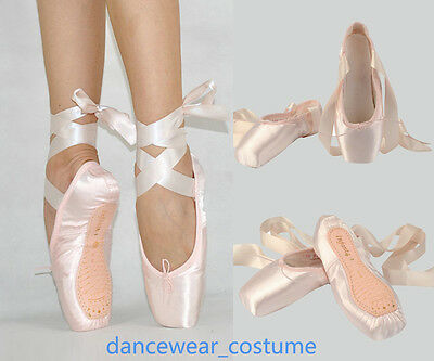 Femme Fille Satin Ballerines Danse Pointe Chaussures Ballet Pointe Shoes Ribbon | eBay
