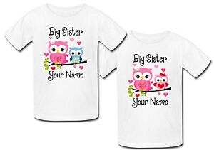 Image Is Loading Personalised Owl Big Sister Top T Shirt Brother