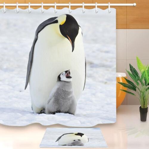 "Antarctica Penguin /& Cub Waterproof Fabric Bathroom Shower Curtain Hooks 72//79/"""