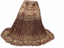 Vinatage Indian Wedding Women Long Skirt Hand Beaded Zarozi Maroon Lehenga,LP-7