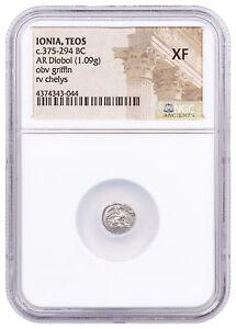 Ionia-Teos-Silver-Diobol-c-375-294-BC-NGC-XF-Story-Vault-SKU52879