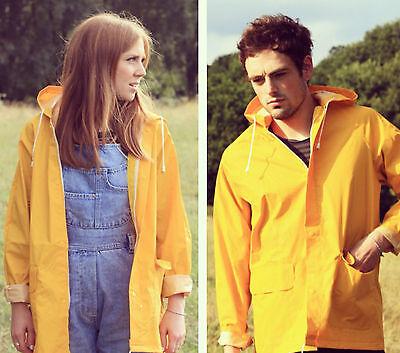 NEW YELLOW FESTIVAL RAINCOAT fisherman / M / unisex jacket  yellow coat hipster