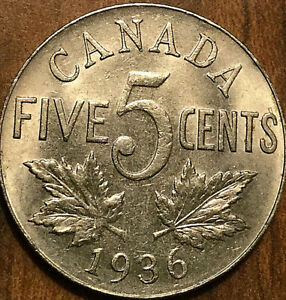 1936-CANADA-5-CENTS-Uncirculated
