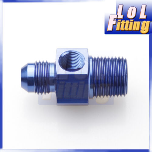 "8 AN 8AN AN8 AN-8 Male To 3//8/"" NPT With 1//8/"" NPT Gauge Port Blue B"