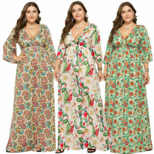 Women-BOHO-Long-Evening-Party-Cocktail-Prom-Floral-Summer-Beach-Maxi-Dress-Plus