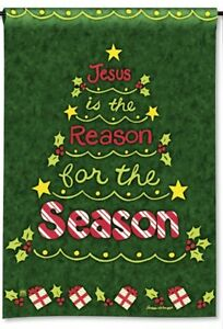 JESUS-IS-THE-REASON-FOR-THE-SEASON-Christmas-Tree-12-5-034-x-18-034-Small-Banner-Flag