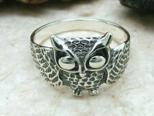 Silberring Eule mit Rose 925er Sterling Silber Ring Weißheit