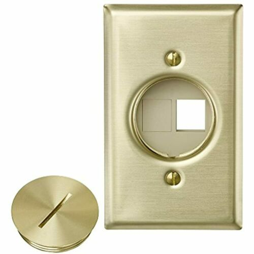 Leviton 41652 QuickPort Floor Jack Assembly Two Blank Inserts Solid Brass