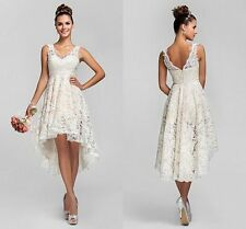 Stock White/Ivory High Low short Lace Wedding Dress Bridal ball Gown size 6-16