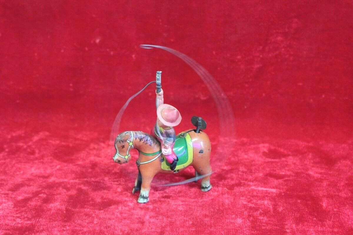 Old Vintage Antique Tin Toy Horse Rider Man Wind Up Friction Collectible PR-90