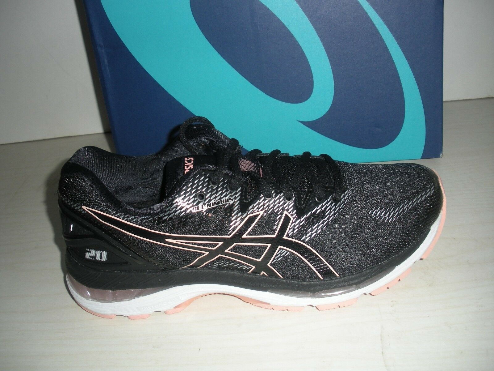 ASICS WOMENS GEL-NIMBUS 20 RUNNING SHOES-SNEAKERS-T850N-001- BLACK/ FROSTED ROSE Wild casual shoes