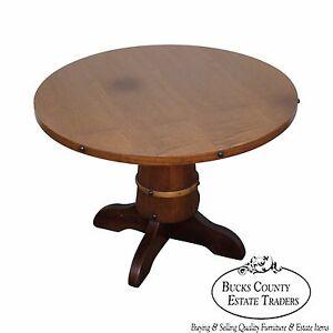 Image Is Loading Vintage Oak Round Barrel Base Coffee Table