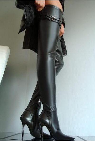 ti aspetto donna Sexy Thigh Thigh Thigh High Over Knee stivali Pointed Toe Leather scarpe Stilettos E31  elementi di novità