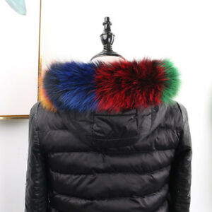 Top-quality-Colorful-Fox-Fur-Collar-Hood-Trimming-Scarf75-12cm30X4-7-034-US-Stock