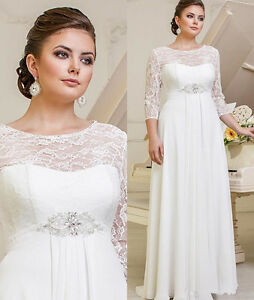 897997a1d1fe Lace Chiffon Wedding Dresses Bridal Gown Plus Size Custom Made 18-20 ...