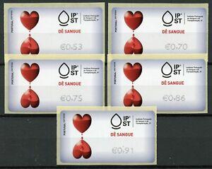 Portugal-2019-MNH-Give-Blood-Tempo-Time-5v-S-A-Label-Set-Medical-Health-Stamps