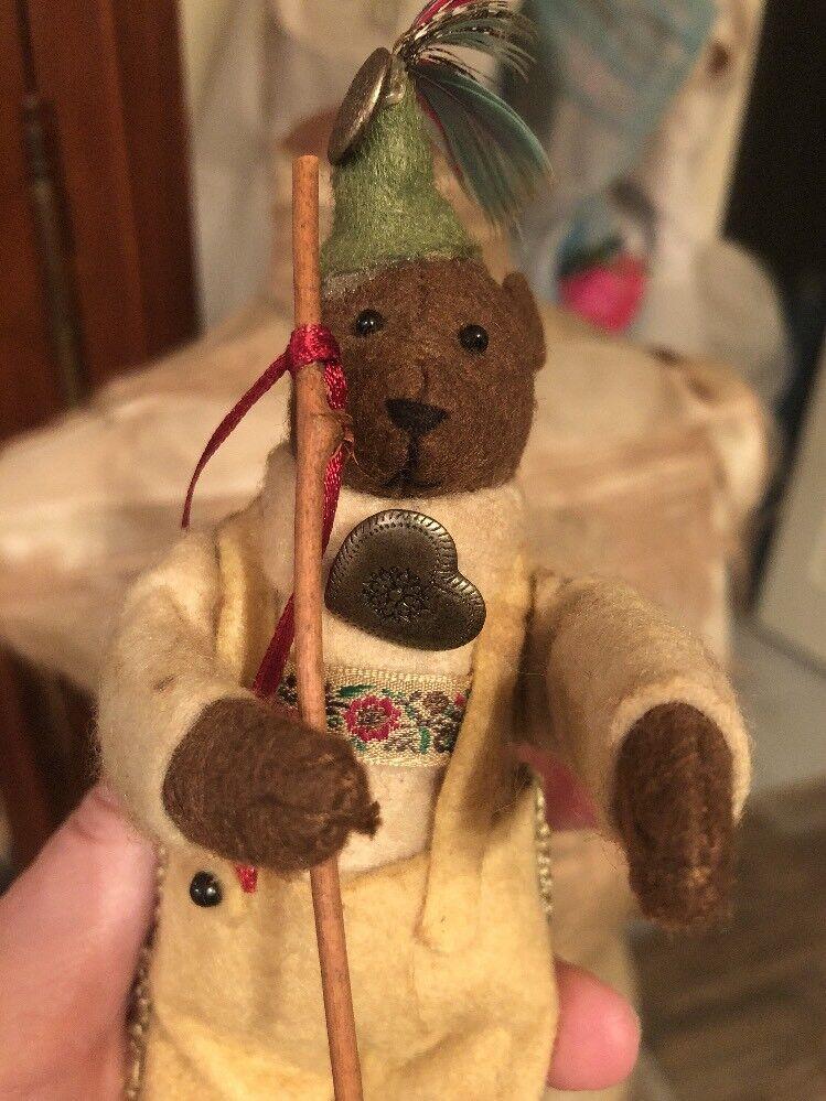 Jahr Antique Rare Teddy Bear Dirndl BackVerpackung Hiker Adorable Mini Swiss German