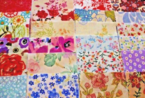 72 rotary cut 4 inch Floral  patchwork squares