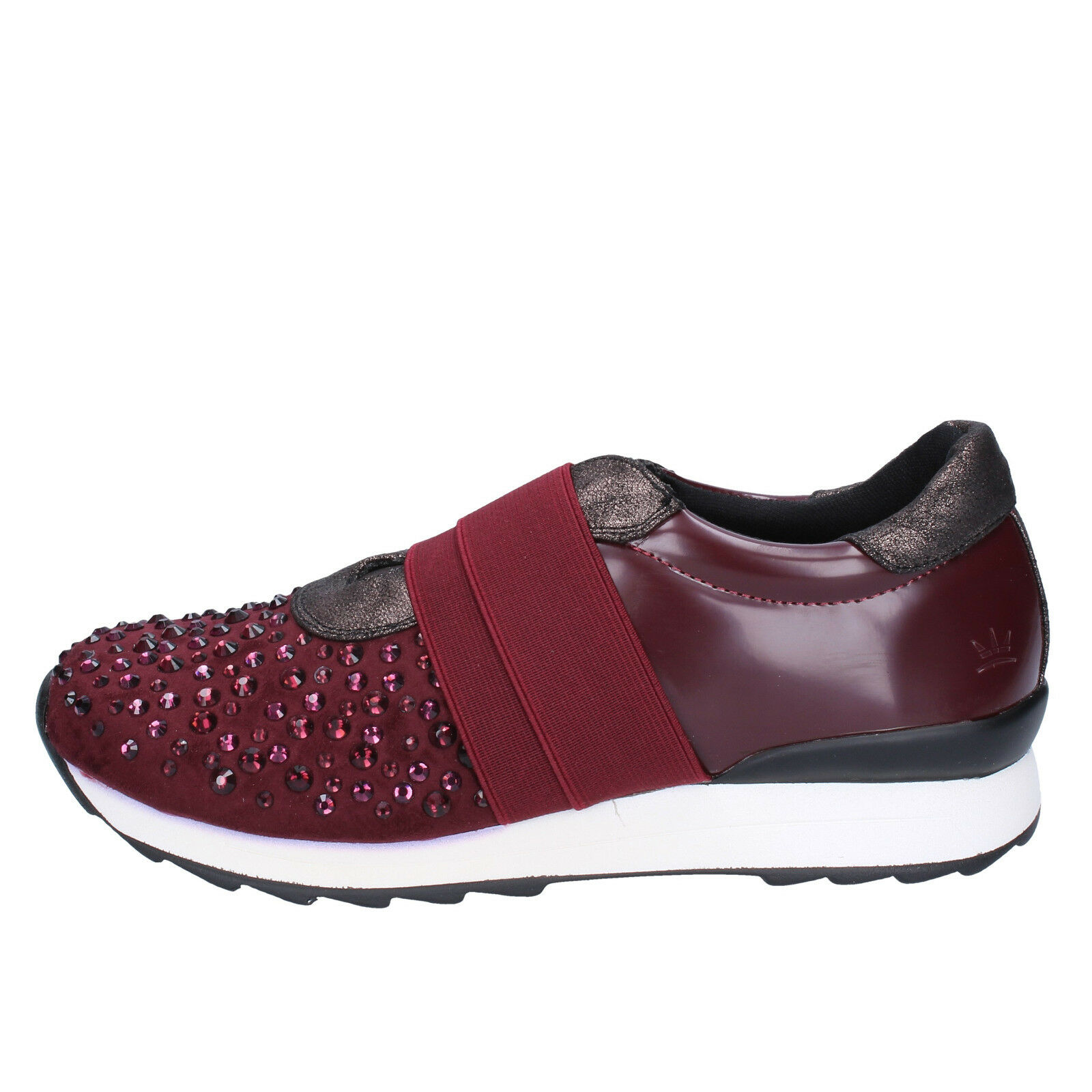 EU donna FRANCESCO MILANO 39 EU  slip on bordeaux pelle camoscio BX338-39 b194a9
