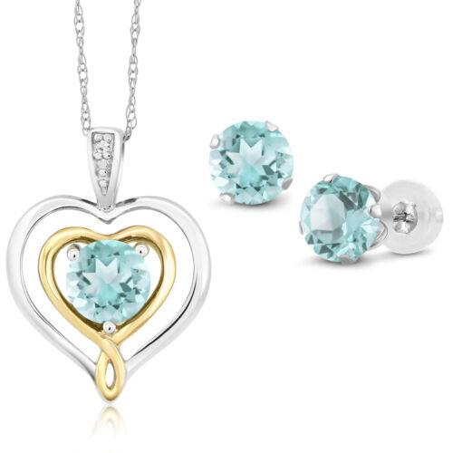 10K Two Tone Gold 2.31 Ct Sky Blue Topaz and Diamond Pendant Earrings Set