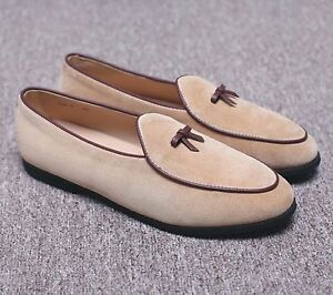 Mens-Leather-Slippers-Loafers-Slip-on-Belgian-Dress-Shoes-Flats-With-Bowtie-New