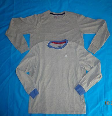 New Lot of 2 Boy's Long Sleeve Tee Shirt Gray w/ trim  100% Cotton Sz M