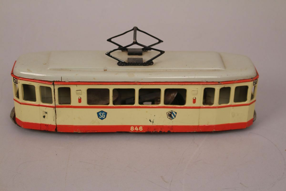 Sg Günthermann Tramway 846 Station 21 Wagon Friction Toy Tin Toy