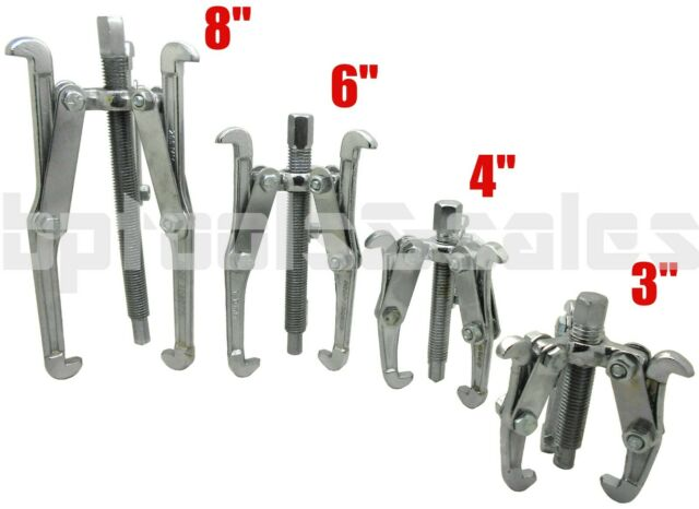 """4 Pc Mechanic Gear Puller 3 Jaw Set 3/"""" 4/"""" 6/"""" 8/"""" Gear Pulley Bearing Puller Auto"""