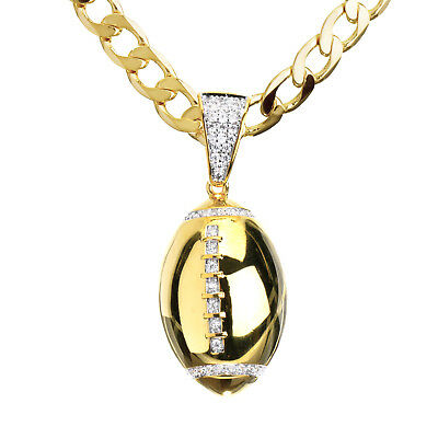 """Men/'s Gold Toned Football Iced CZ Pendant 24/"""" Cuban Chain Necklace CP 15109 G"""