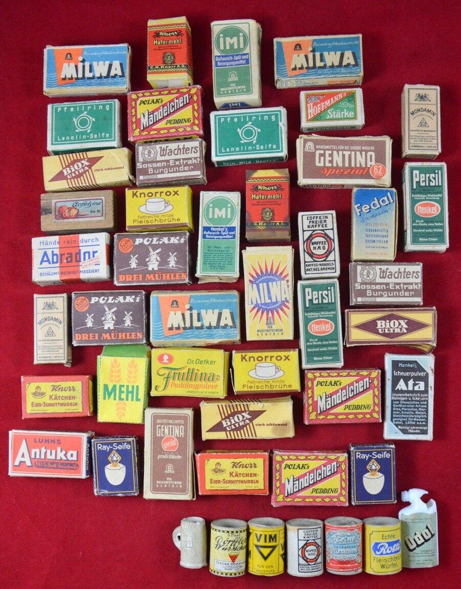 VINTAGE ANTIQUE GERMAN DOLLHOUSE Detergent Food Boxes Cans BIG LOT of 48 pcs SET