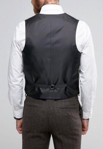 Mens 3-Button Herringbone Wool Tweed Slim Fit Vest Waistcoat Brown Burgundy Blue