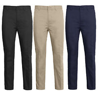 Mens Chino Trousers Regular Fit Jeans Pant Elasticated Adjustable waist