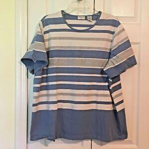 Covington-Woman-size-24-26-Striped-Blue-Cotton-Knit-Top-Round-Neck-Plus-size