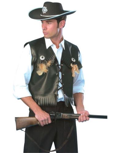 Para Hombre Deluxe Black Cowboy Chaleco chaqueta Salvaje Oeste Fancy Dress Costume Outfit