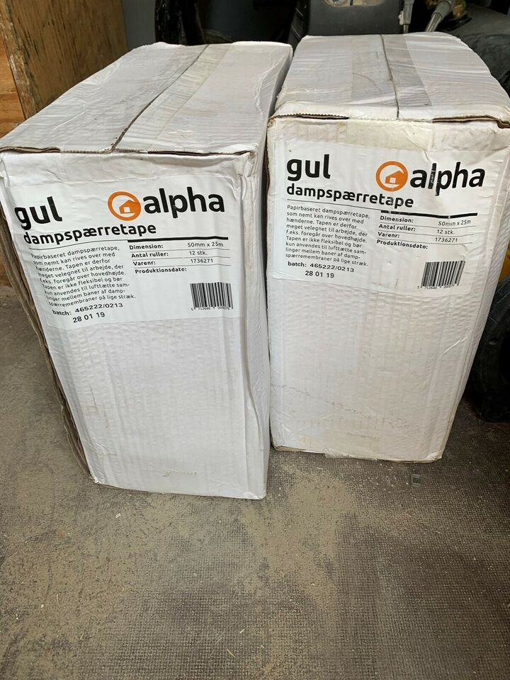 Gul. Alpha. Dampspærre tape. Rivbart