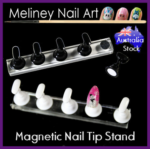 Magnetic Nail Tip Display Stand Holder Practice Set Art Training Tool Finger