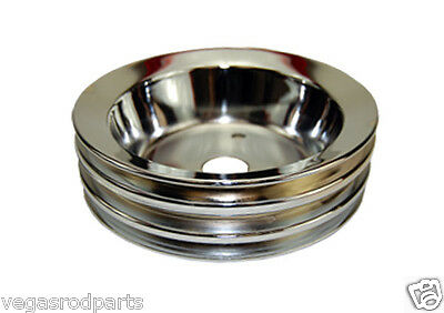 Small Block Chevy Chrome steel Crank  Pulley short triple groove chevrolet low 3