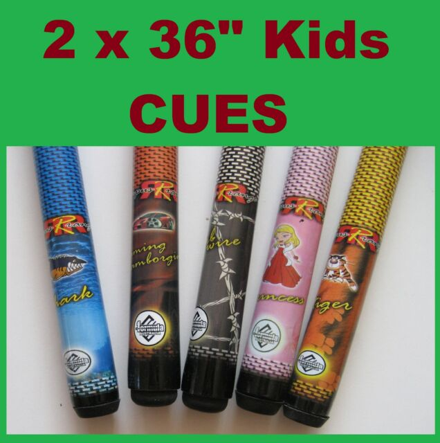 "PAIR of POOL SNOOKER BILLIARD CUE KIDS 36""  rrp $59.99 june"