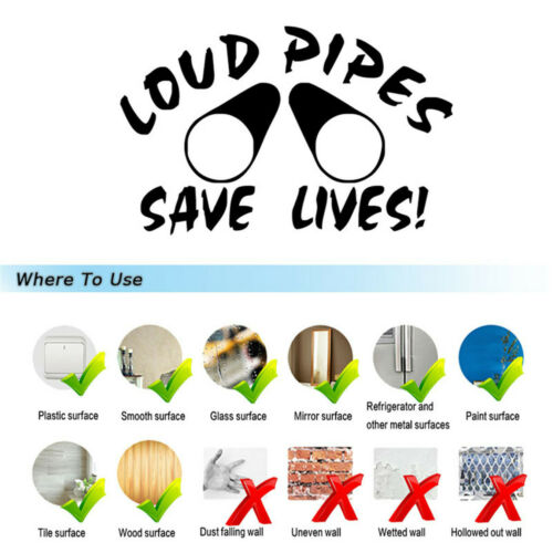 LOUD PIPES SAVE LIVES Funny Sticker Car Window Motorcycle Truck Vinyl Decal