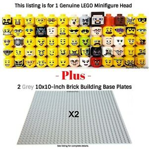 1-LEGO-Minifigure-Head-PLUS-2-Grey-10x10-inch-32x32-stud-compatible-base-plates