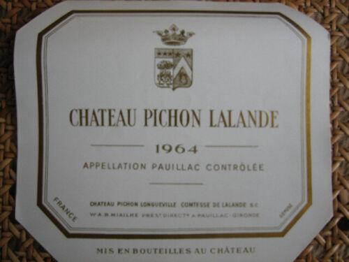 Etiquette Wine label GCC Pauillac Château Pichon Longueville Ctesse 1964 magnum