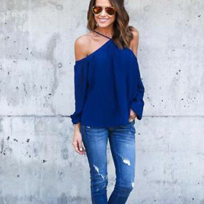 Womens Off Shoulder Strappy Baggy Long Sleeve T-Shirt Tops Blouse Pullover Tee