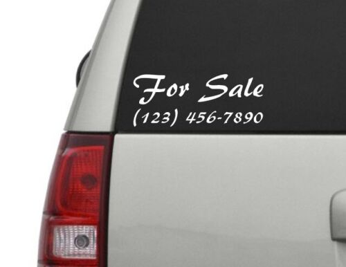 For Sale Car Decal Custom Phone Number 9 Inch Decal