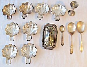 Lot of Silverplate 8 Scalloped Dishes 3 Spoons 1 Butter Dish 1 Goblet Vintage L6