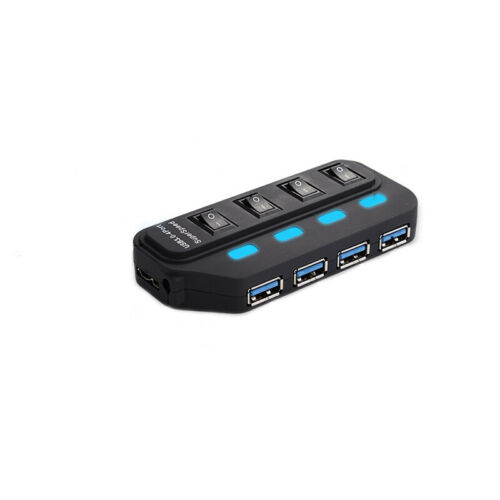 USB 3.0 Hub 4 Port LED Indicator For PC Computer Laptop w// Power Adapter Switch