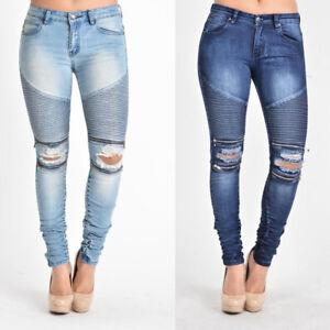 NWT-Women-039-s-Scrunch-Stacked-Biker-Style-Ripped-Zip-Rider-Pants-Jeans-RJL462-N4