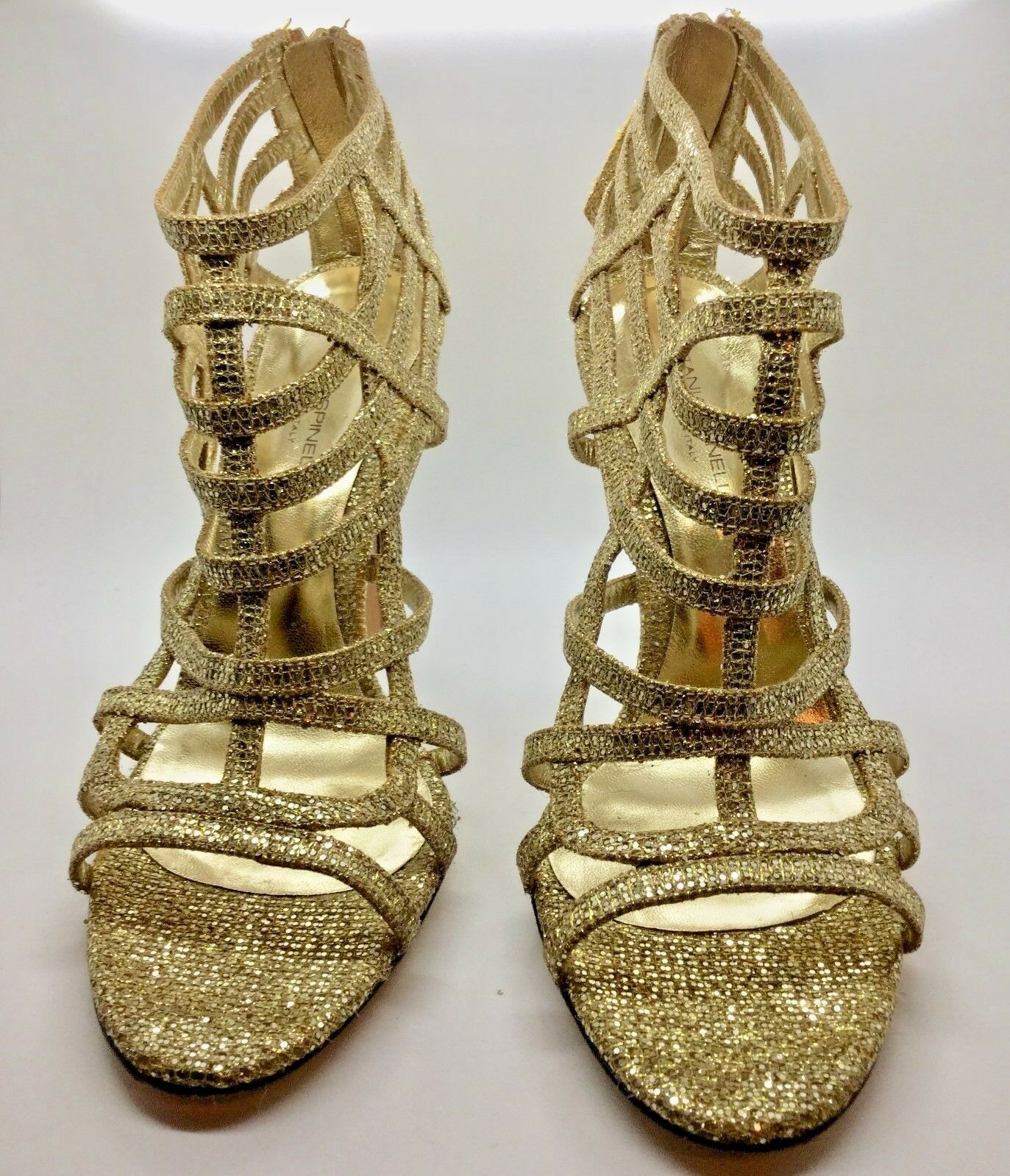 TANIA SPINELLI Gold Strappy Gladiator Heeled Pump SIZE 37.5