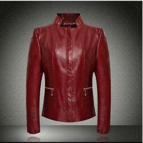 Womens Leather Short Motorbiker Slim Fit Punk Coat Casual Jacket Zip UP Plus sz