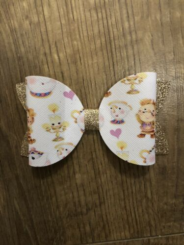 Lumiere Girls 4 Inch Hair Bow Chip Handmade Beauty And The Beast Mrs Potts